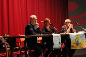 """Maurizio Pallante, Miriam Corongiu (Georgika) e Padre Alex Zanotelli a """"CambiaMenti"""" - Ph. Enza Sola"""